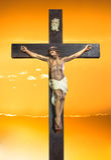 Jesus Christ sur le ciel de coucher du soleil Photographie stock