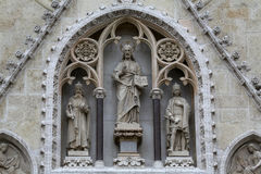 Jesus Christ surrounded by saints Stephen the King and St. Ladislaus, Stock Photos