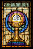 Jesus Christ Symbol in Stained Glass Stock Photography