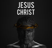 Jesus Christ Text Statue avec la couronne d'or du rendu des épines 3D Illustration de Vecteur