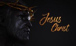 Jesus Christ Text Statue avec la couronne d'or du rendu des épines 3D illustration libre de droits