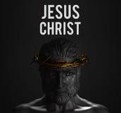 Jesus Christ Text Statue met Gouden Kroon van Doornen het 3D Teruggeven Stock Afbeelding