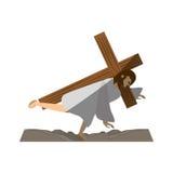 Jesus christ third fall via crucis shadow Stock Photos