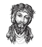 Jesus Christ with thorny wreath on his head. Sketch  illustration Royalty Free Stock Photography