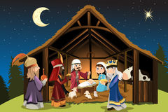 Jesus Christ and three wise men. A vector illustration of Christmas concept of the birth of Jesus Christ with Joseph and Mary accompanied by the three wise men stock illustration
