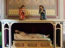Jesus Christ in the tomb. Church of Saint Matthew in Stitar, Croatia stock photography