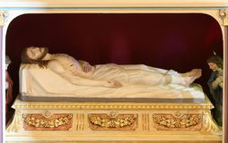 Jesus Christ in the tomb. Church of Saint Matthew in Stitar, Croatia royalty free stock image