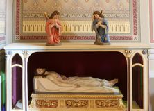 Jesus Christ in the tomb. Church of Saint Matthew in Stitar, Croatia stock image