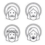 Jesus Christ vänder mot den plana symbolen stock illustrationer