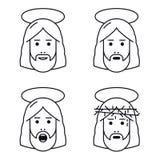 Jesus Christ vänder mot den plana symbolen royaltyfri illustrationer