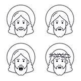 Jesus Christ vänder mot den plana symbolen vektor illustrationer