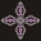 Jesus Christ. Vintage beautiful ornate Christian Cross from brilliant stones, silver and pink. Royalty Free Stock Image
