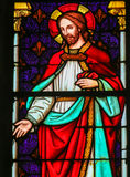 Jesus Christ - vitral na catedral de Mechelen foto de stock royalty free