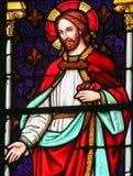 Jesus Christ - vitral na catedral de Mechelen imagens de stock