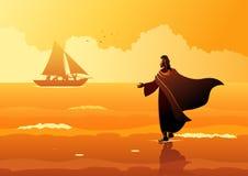 Jesus Christ Walking en el agua libre illustration