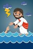 Jesus Christ Walking Water Saviour. Cartoon smiling Jesus walking on water sea saving disciple. Eps available Stock Images