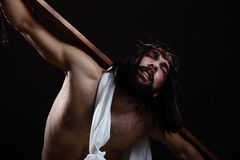 Jesus Christ Wearing The crown of thorns Stock Photo