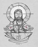 Jesus Christ with wine, bread and open hands illustration Royalty Free Stock Photo