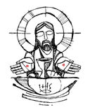 Jesus Christ with wine, bread and open hands illustration Stock Image