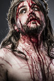 Jesus Christ With Crown Of Thorns White On The Cross, Easter In Stock Images