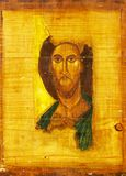 Jesus Christ wood painting. Painting of Jesus Christ on wood plank with golden background Stock Photography
