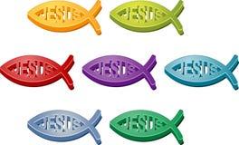 Jesus Christian fish symbol. Colored icon set illustration Stock Photos