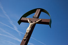 Jesus Christus. Jesus Cristus on wood cross royalty free stock image