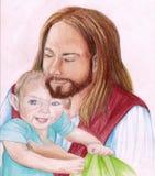 Jesus Christus, der ein junges Kind anhält Stockfotografie