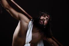 Jesus-Christus die de kroon van doornen dragen Stock Foto