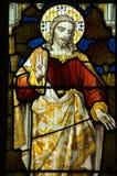 Jesus-Christus die venster zegent Royalty-vrije Stock Foto's