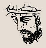 Jesus Christus Face Sketch, progettazione di vettore di arte Immagine Stock