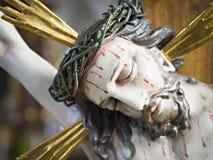 Jesus Christus figure. Figure of Jesus Christus with bloody face royalty free stock photography