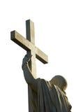 Jesus-Christus houdt hartstochtskruis Stock Afbeelding