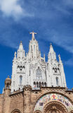 Jesus Christus Statue at Expiatory Church of the Sacred Heart of Jesus. (Temple Expiatori del Sagrat Cor) on summit of Mount Tibidabo in Barcelona, Catalonia Royalty Free Stock Photos