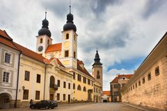 Jesus church in old european city Telc, Czech republic. Europe architecture. Medieval architecture. stock photography