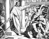 Jesus Clears il tempio immagini stock libere da diritti