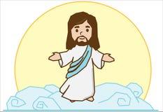 Jesus on the cloud vector illustration