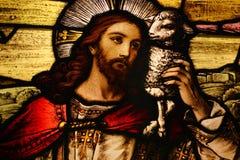 Jesus com cordeiro Fotografia de Stock