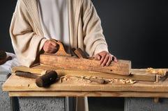 Jesus com plano de madeira imagens de stock