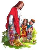 Jesus con i bambini Fotografie Stock Libere da Diritti