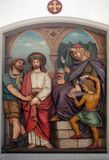 Jesus is condemned to death, 1st Stations of the Cross. The parish church of St. Peter and Paul in Oberstaufen, Germany Stock Images