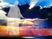 Jesus at Creation Beams of Light. Jesus at creation with sunset and beams of light Stock Image