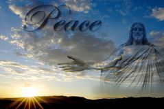 Jesus at Creation Peace. Jesus at creation with sunset and word Peace Royalty Free Stock Image