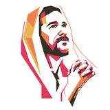Jesus Crist Praying vector Illustration/ eps. Jesus Crist Praying in simple colour vector Illustration, ready eps file Royalty Free Stock Photography