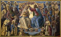 Jesus Cristo e coroação de mary - Siena santamente Fotos de Stock Royalty Free