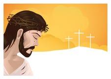Jesus Cristo e cruz Foto de Stock