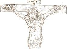 Jesus Cristo que pendura na cruz Fotografia de Stock Royalty Free