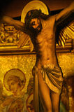 Jesus on cross. Golden toned portrait of Jesus on the cross Royalty Free Stock Photos