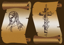 Jesus and cross. Old paper scroll on dark background. With cross and Jesus Christ Stock Images