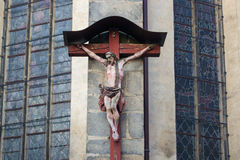 Crucifix on church tower. A crucifix on a church tower in Cheb, Czech Republic Royalty Free Stock Image